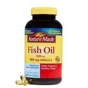 Dầu cá bổ mắt Omega 3 360mg Fish Oil 1200mg Nature Made 200v của mỹ