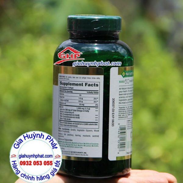 Thành phần Dầu cá hỗ trợ tim mạch Fish Oil Omega 3 Nature Bounty 200v xách tay mỹ giahuynhphat.com