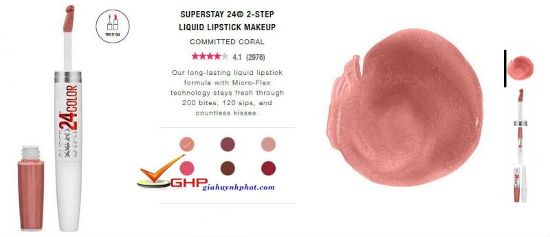 Son nước siêu lì Maybeline SuperStay 24® 2-Step Committed Coral đẹp giá rẻ 3