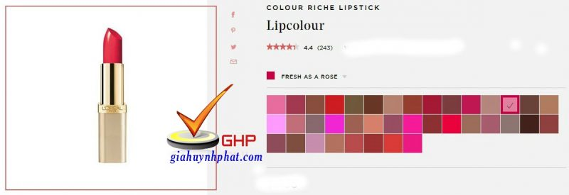 Son thỏi Loreal chính hãng Colour Riche Fresh As A Rose Made in USA đẹp 1