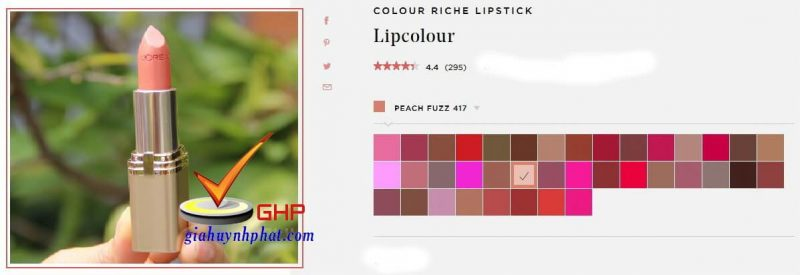 Son thỏi Loreal đẹp Colour Riche Peach Fuzz 417 Made in USA giá tốt chính hãng