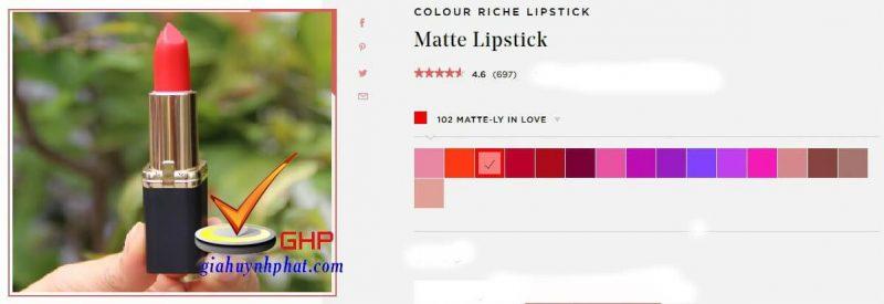 Son môi lì Loreal đẹp Colour Riche Matte Ly In Love chính hãng giá rẻ của mỹ