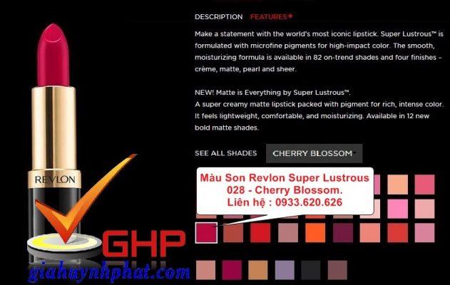 Thỏi son dưỡng môi Revlon Super Lustrous 028 Cherry Blossom chính hãng giá tốt màu đẹp