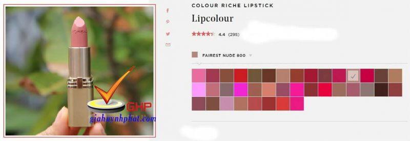Thỏi son môi Loreal đẹp Colour Riche Fairest Nude chính hãng giá tốt của mỹ