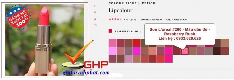 Thỏi son Loreal chính hãng Colour Riche #260 màu đỏ dâu đẹp Made in USA giá cực tốt