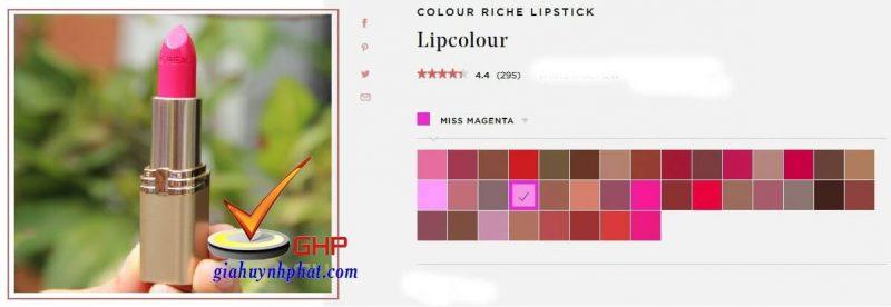 Son thỏi Loreal đẹp Colour Riche Miss Magenta chính hãng giá rẻ