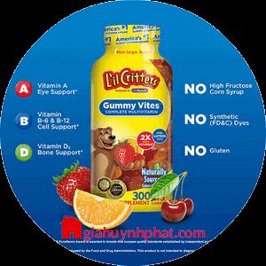 Kẹo dẻo gấu Mỹ cung cấp Multi Vitamin L'il Critters Gummy Vites 200v giahuynhphat.com