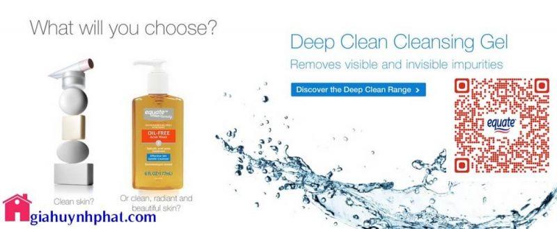 Sữa rửa mặt dạng gel Equate oil free acne wash dành cho da mụn giahuynhphat.com 1