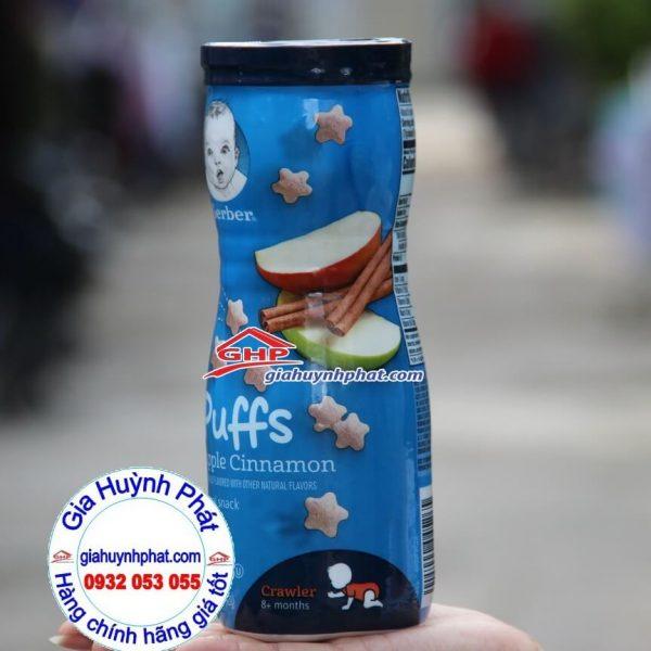 Bánh snack cho bé vị Quế Táo thơm ngon Gerber Puffs Apple Cinnamon hàng mỹ xách tay giahuynhphat.com