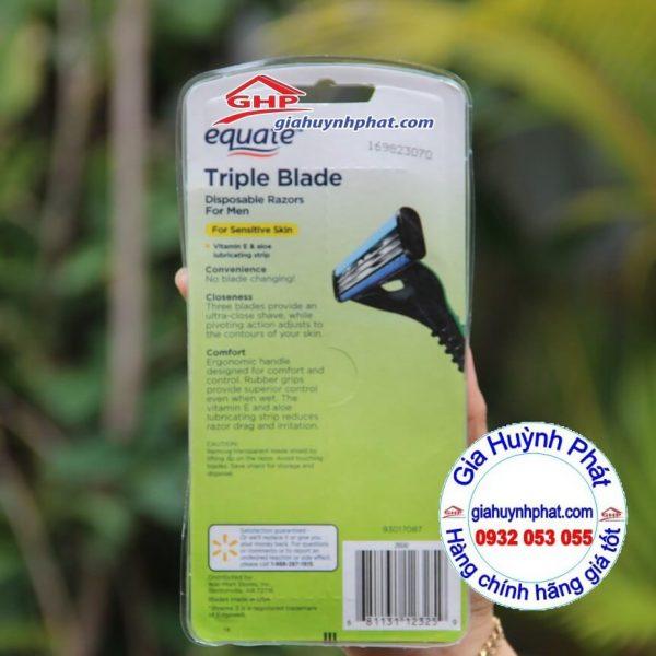 Vỉ dao cạo râu dành cho nam 3 lưỡi Equate Triple Blade sản phẩm của Walmart giahuynhphat.com