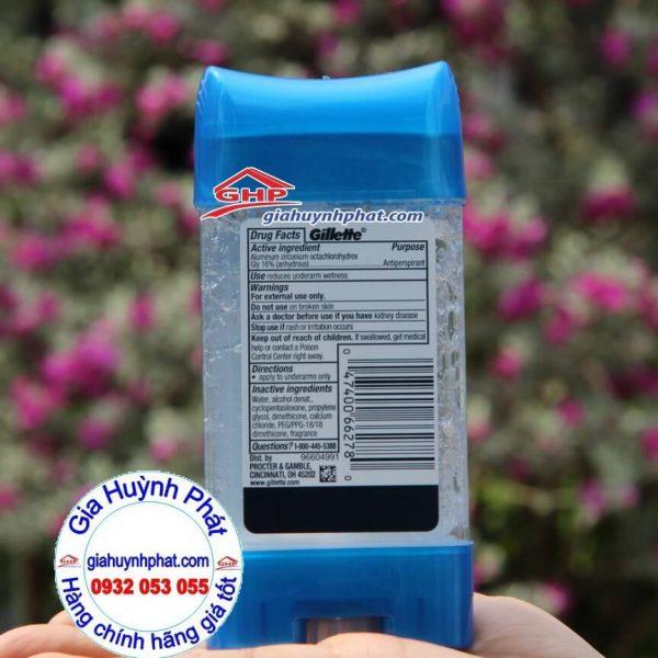 Thành phần lăn khử mùi cho nam dạng gel Gillette Endurance Cool Wave xách tay mỹ giahuynhphat.com