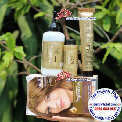 Hộp thuốc nhuộm bao gồm: Lọ dung dịch, gel màu, dầu xả, găng tay giahuynhphat.com