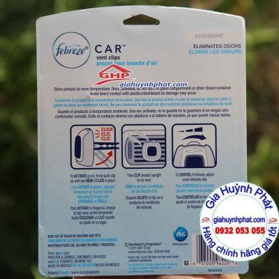 Thành phần Set nước hoa lọc khử mùi ẩm mốc cho ô tô Febreze Car Linen & Sky giahuynhphat.com