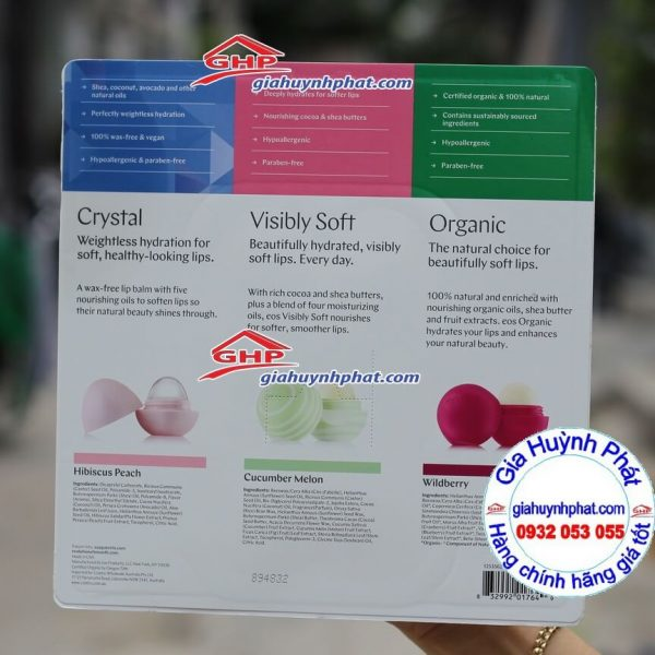 Thành phần son Dưỡng Môi Quả Trứng EOS Lasting Hydration Lip Care Xách Tay Từ Mỹ giahuynhphat.com